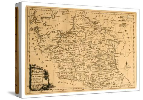 Old Map Of Poland-Tektite-Stretched Canvas Print