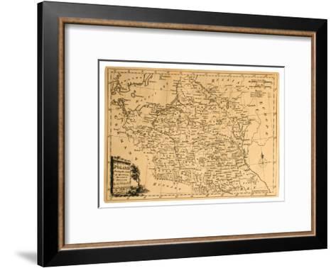 Old Map Of Poland-Tektite-Framed Art Print