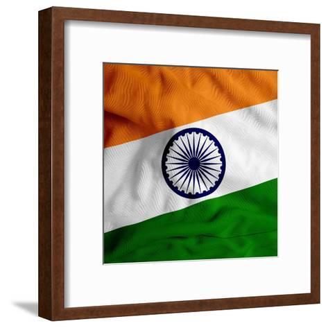 India Cloth Flag-Graphic Design Resources-Framed Art Print