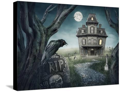 Haunted House-egal-Stretched Canvas Print