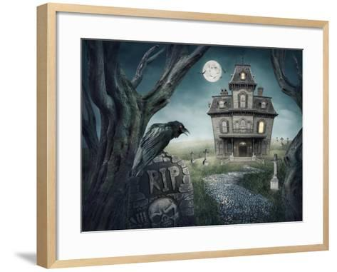 Haunted House-egal-Framed Art Print