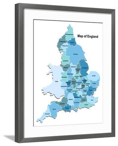 Map Of England-Vlada13-Framed Art Print
