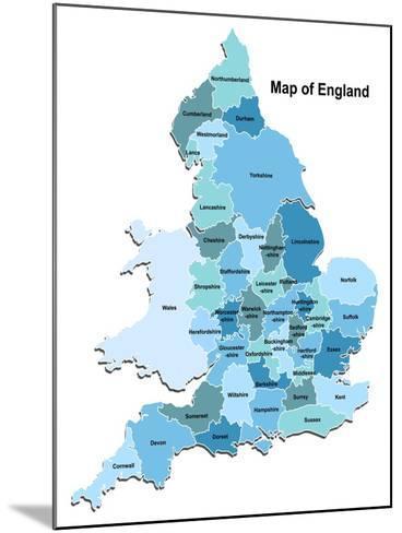 Map Of England-Vlada13-Mounted Art Print