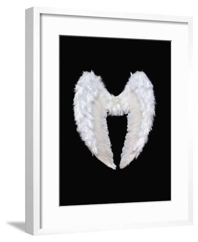 White Angel Wings-Black_blood-Framed Art Print