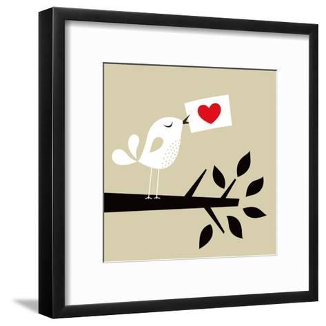 Bird Love Card- vector-RGB-Framed Art Print