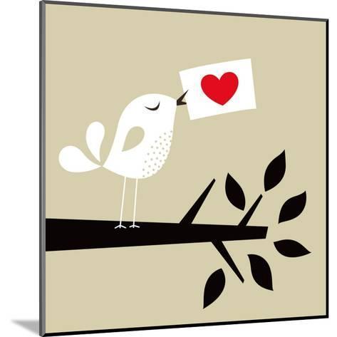 Bird Love Card- vector-RGB-Mounted Art Print