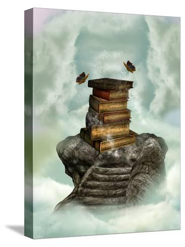 Books In The Sky-justdd-Stretched Canvas Print