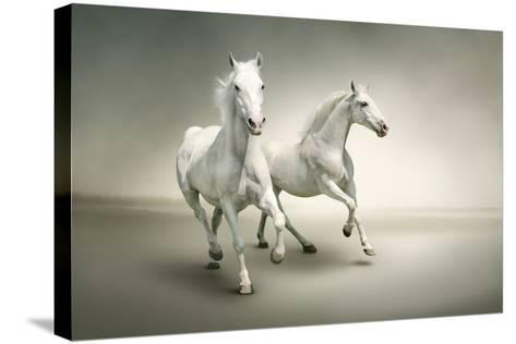 White Horses-varijanta-Stretched Canvas Print