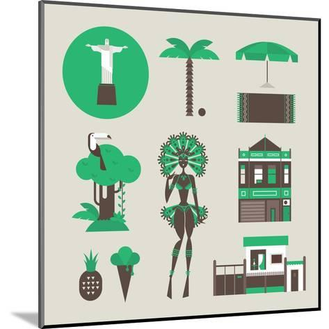 Brazillian Icons-vector pro-Mounted Art Print