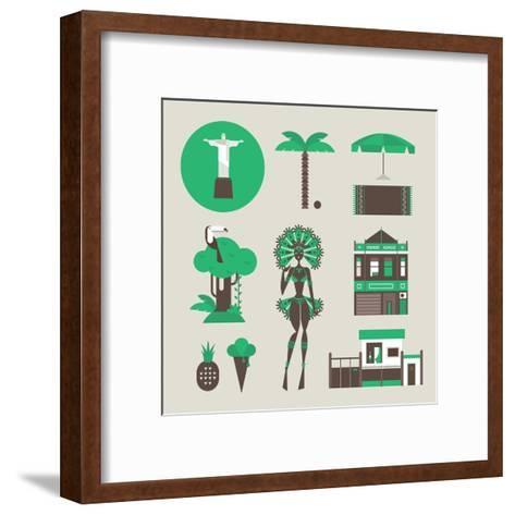 Brazillian Icons-vector pro-Framed Art Print