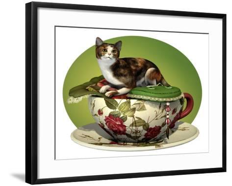 Cat N Cup Calico-Atelier Sommerland-Framed Art Print