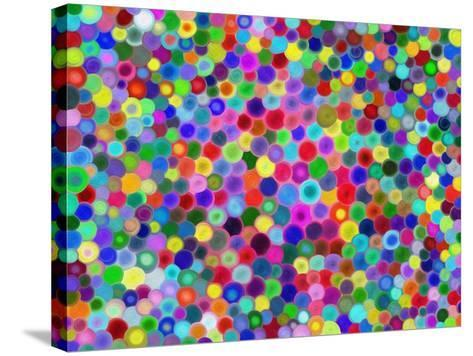 Multicolored Circles-Tan-tra-Stretched Canvas Print