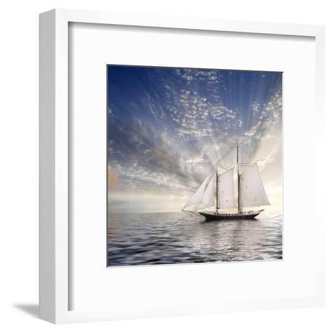 Sailboat Sun And Sky-rolffimages-Framed Art Print