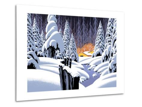 Snow Scene With Barn-Designwest-Metal Print
