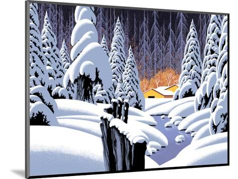 Snow Scene With Barn-Designwest-Mounted Art Print