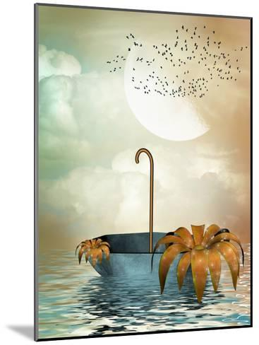 Umbrella In The Ocean-justdd-Mounted Art Print