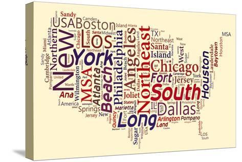 Word Cloud Of Usa Map- masuti-Stretched Canvas Print