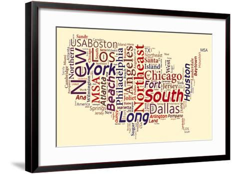 Word Cloud Of Usa Map- masuti-Framed Art Print
