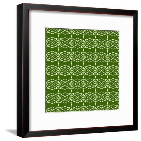 Green Native Pattern- weknow-Framed Art Print