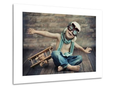 A Small Boy Playing-conrado-Metal Print
