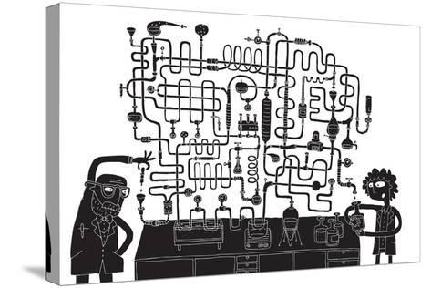 Laboratory Maze Game-vook-Stretched Canvas Print