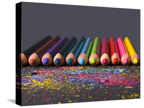 Pencils On Dark Background-vesnacvorovic-Stretched Canvas Print