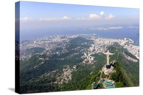 Aerial View Of Christ Redeemer And Corcovado Mountain In Rio De Janeiro-mangostock-Stretched Canvas Print