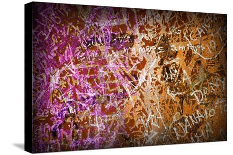 Colorful Grunge Background With Graffiti And Writings And A Slight Vignette-ccaetano-Stretched Canvas Print