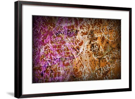 Colorful Grunge Background With Graffiti And Writings And A Slight Vignette-ccaetano-Framed Art Print