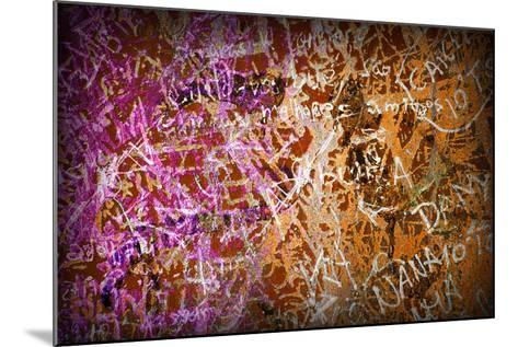 Colorful Grunge Background With Graffiti And Writings And A Slight Vignette-ccaetano-Mounted Art Print