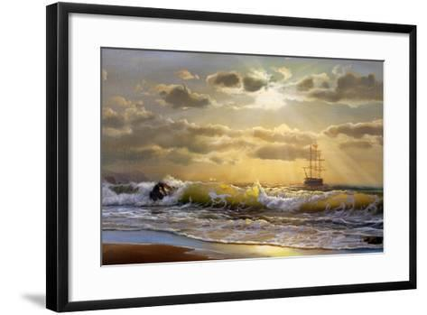 Oil Painting On Canvas , Sailboat Against A Background Of Sea Sunset-Lilun-Framed Art Print
