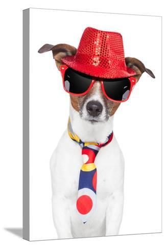 Crazy Silly Funny Dog Hat Glasses Tie-Javier Brosch-Stretched Canvas Print