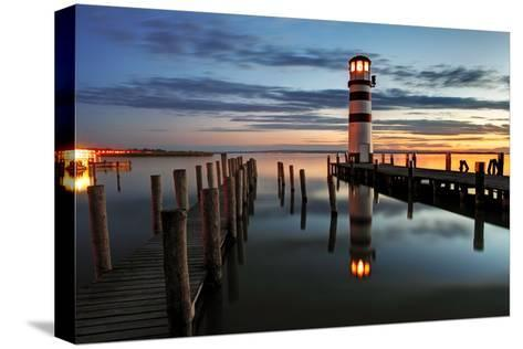 Lighthouse At Night-TomasSereda-Stretched Canvas Print