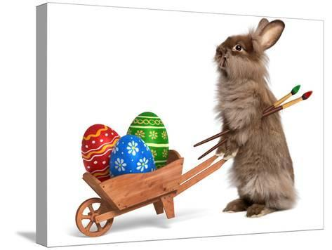 Funny Easter Bunny Rabbit With A Wheelbarrow And Some Easter Eggs-mdorottya-Stretched Canvas Print