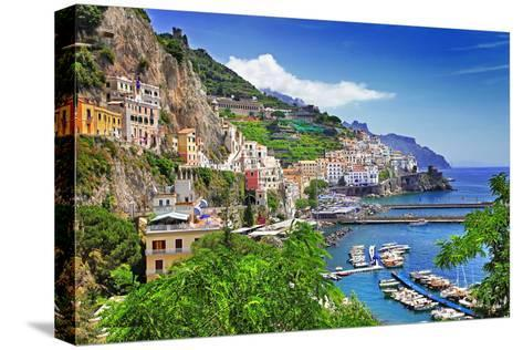 Travel In Italy Series - View Of Beautiful Amalfi-Maugli-l-Stretched Canvas Print