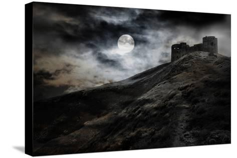 Night, Moon And Dark Fortress-fotosutra.com-Stretched Canvas Print