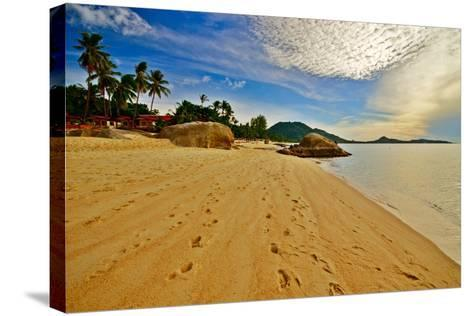 Deserted Morning Beach With Golden Sand And Footprints-vitalytitov-Stretched Canvas Print