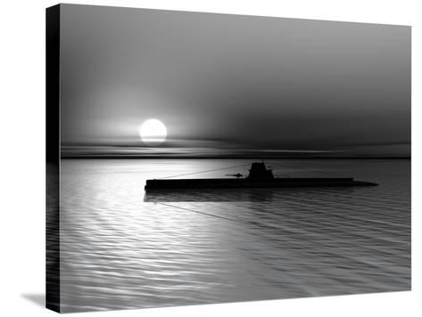 Submarine On A Background Of A Sunset On The Sea-oneo-Stretched Canvas Print