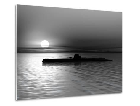 Submarine On A Background Of A Sunset On The Sea-oneo-Metal Print