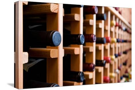 Wine Bottles In Cellar-HdcPhoto-Stretched Canvas Print