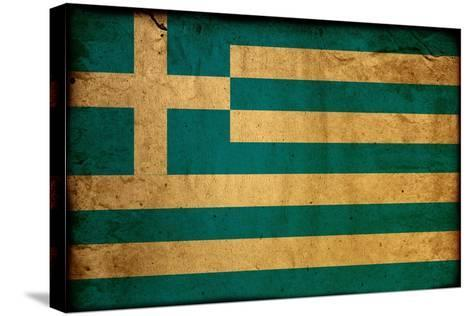 Vintage Flag Of Greece-ilolab-Stretched Canvas Print