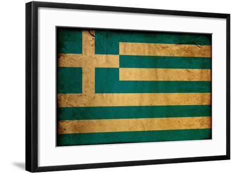Vintage Flag Of Greece-ilolab-Framed Art Print