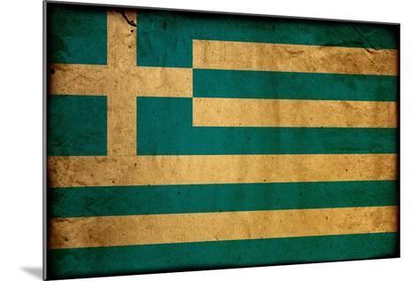 Vintage Flag Of Greece-ilolab-Mounted Art Print