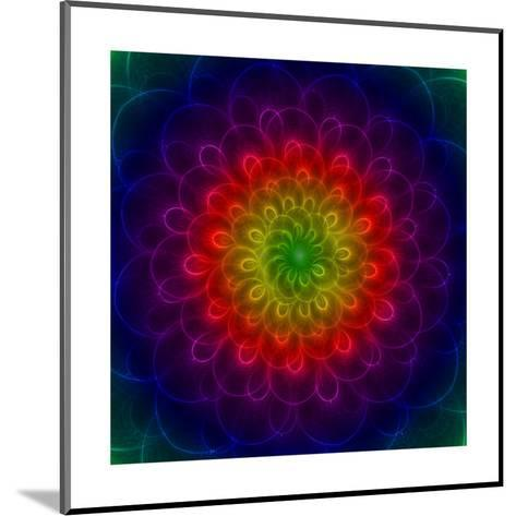 Colorful Peacoke Feather Flower- sgame-Mounted Art Print