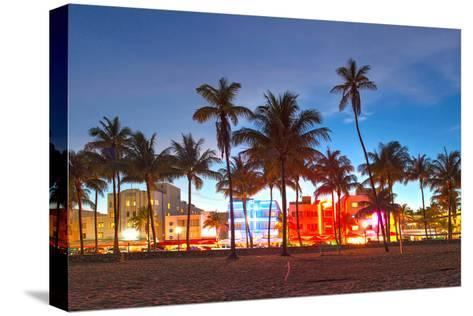 Miami Beach Florida Hotels And Restaurants At Sunset-Fotomak-Stretched Canvas Print