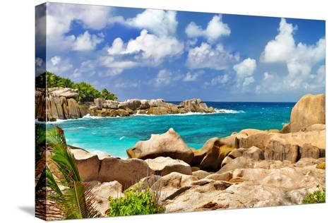Amazing Seychelles With Unique Granite Rocks-Maugli-l-Stretched Canvas Print