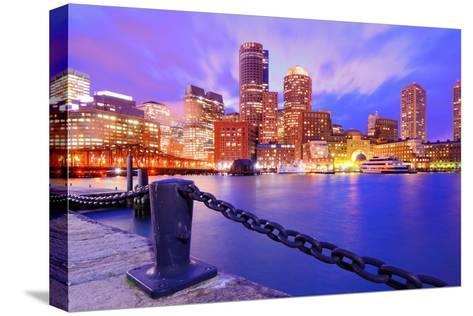 Financial District Of Boston, Massachusetts Viewed From Boston Harbor-SeanPavonePhoto-Stretched Canvas Print