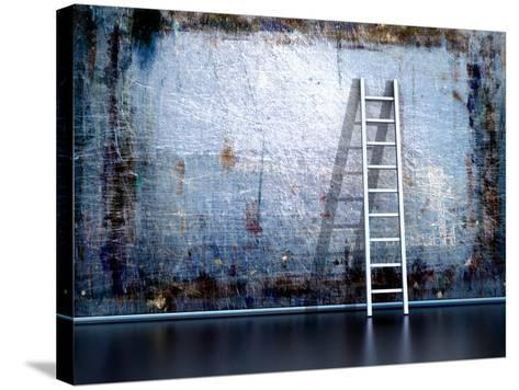 Dirty Grunge Wall With Wooden Ladder-ArchMan-Stretched Canvas Print