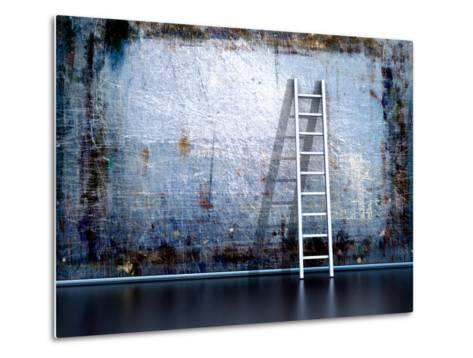 Dirty Grunge Wall With Wooden Ladder-ArchMan-Metal Print