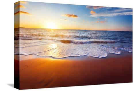 Sunset And Beach-Hydromet-Stretched Canvas Print